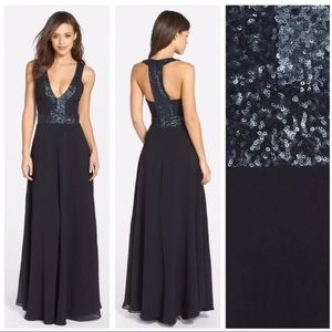 Dress The Population 'Delani ' Sequin Crepe Black